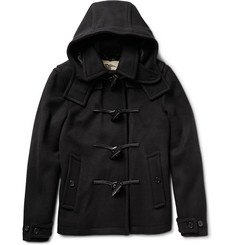 Burberry London Leather-Trimmed Wool Coat
