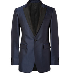 Burberry London Navy Latham Slim-Fit Silk-Jacquard Blazer