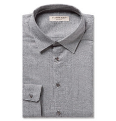 Burberry London Grey Slim-Fit Prince of Wales Checked Cotton Shirt
