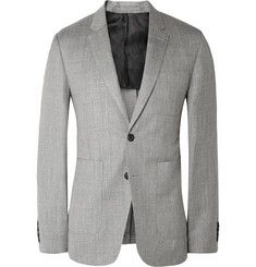 Burberry London Grey Stirling Slim-Fit Herringbone Wool, Silk and Linen-Blend Blazer