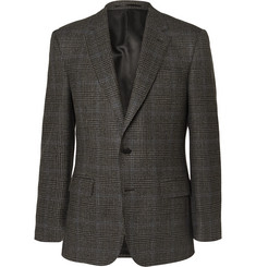 Gieves & Hawkes Brown Slim-Fit Checked Wool and Cotton-Blend Blazer