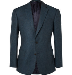 Gieves & Hawkes Blue Slim-Fit Herringbone Wool Blazer