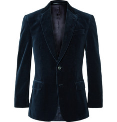 Gieves & Hawkes Midnight-Blue Slim-Fit Velvet Blazer