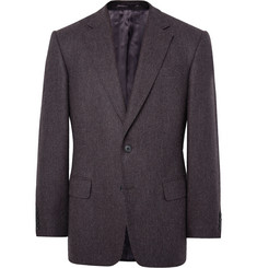 Gieves & Hawkes Brown Slim-Fit Herringbone Mélange Wool Blazer