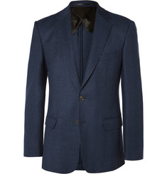 Gieves & Hawkes Navy Slim-Fit Herringbone Wool Blazer