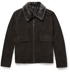 Gieves & Hawkes Shearling-Trimmed Nubuck Leather Flight Jacket