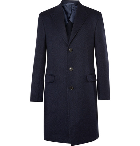 Gieves & HawkesStriped Wool And Cashmere-Blend Overcoat