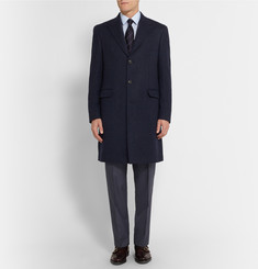 Gieves & Hawkes Striped Wool And Cashmere-Blend Overcoat