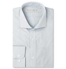Gieves & Hawkes Grey Gingham Cotton and Silk-Blend Shirt