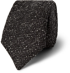 Gieves & Hawkes Herringbone Slub Wool and Silk-Blend Tie