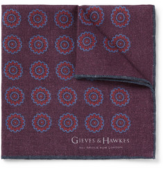 Gieves & Hawkes Medallion-Print Wool and Silk-Blend Pocket Square