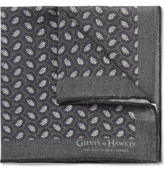 Gieves & Hawkes Printed Wool and Silk-Blend Pocket Square
