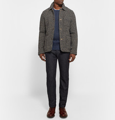 Gieves & Hawkes Mélange Cable-Knit Wool and Cashmere-Blend Sweater