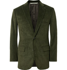 Freemans Sporting Club Green Slim-Fit Cotton-Corduroy Blazer