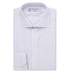 Turnbull & Asser Lilac Slim-Fit Striped Cotton Shirt