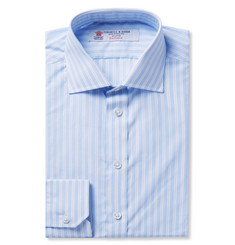 Turnbull & Asser Blue Slim-Fit Striped Cotton-Poplin Shirt