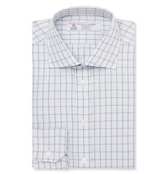 Turnbull & Asser White Slim-Fit Checked Cotton Shirt