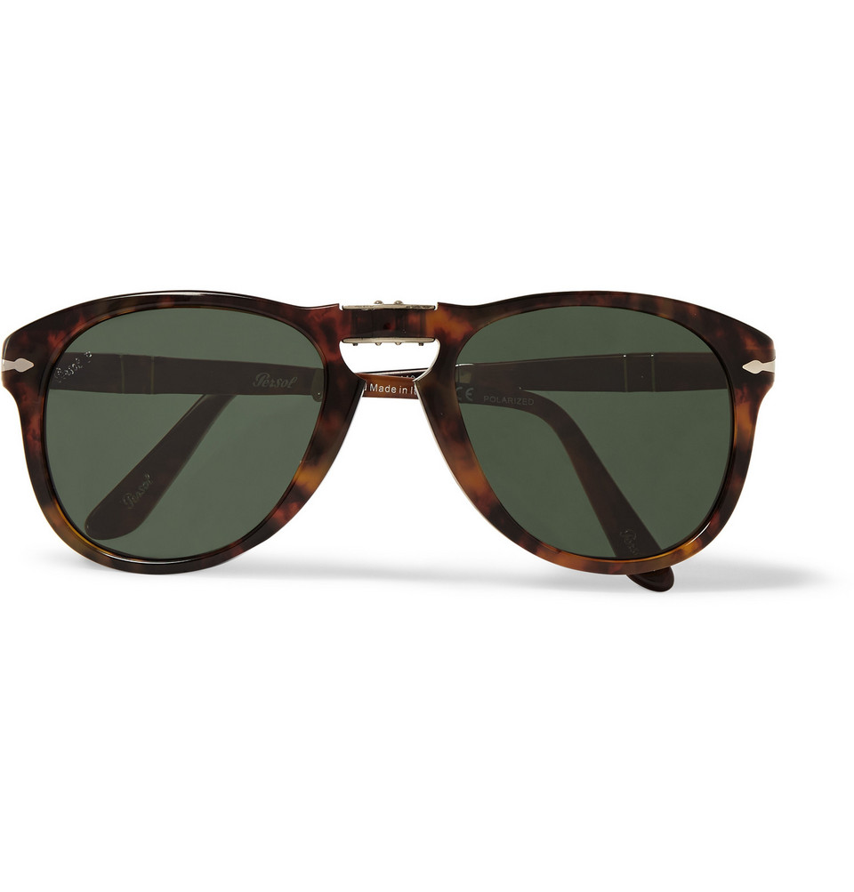 Round Frame Folding Tortoiseshell Acetate Sunglasses Brown