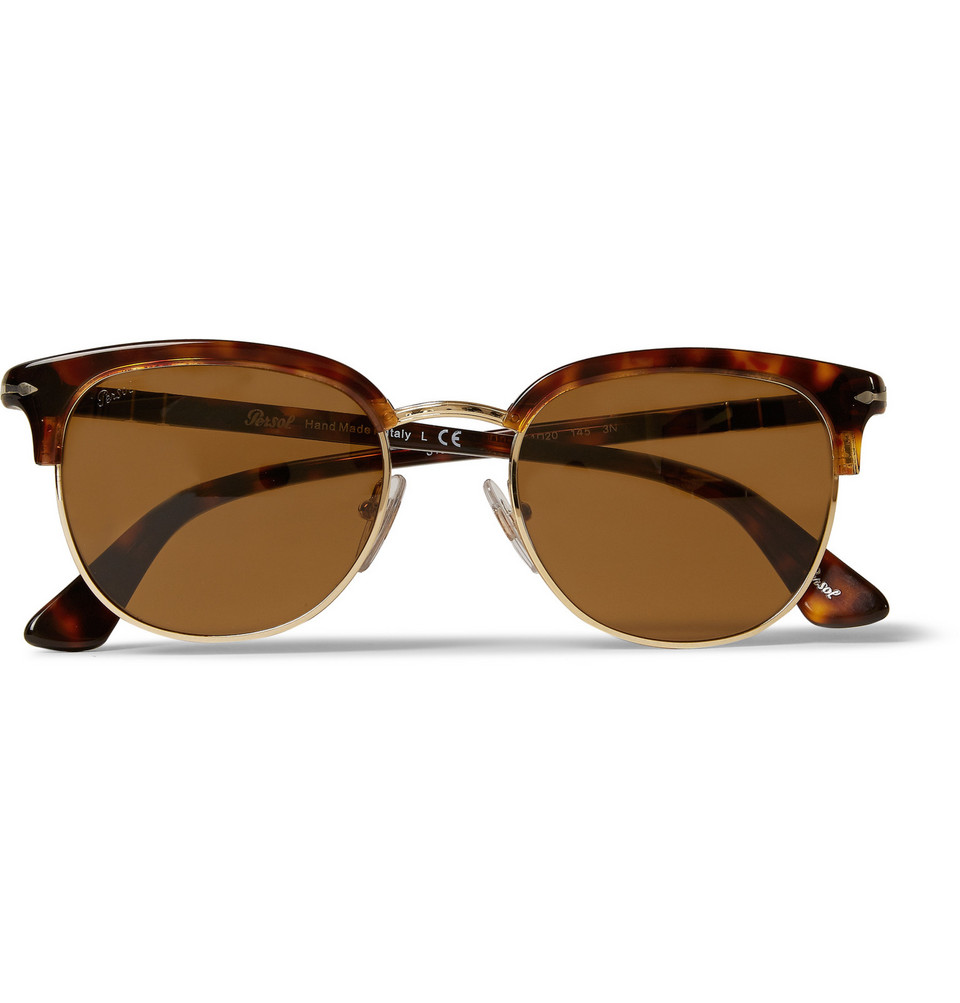 Tortoiseshell Acetate and Metal Sunglasses Brown