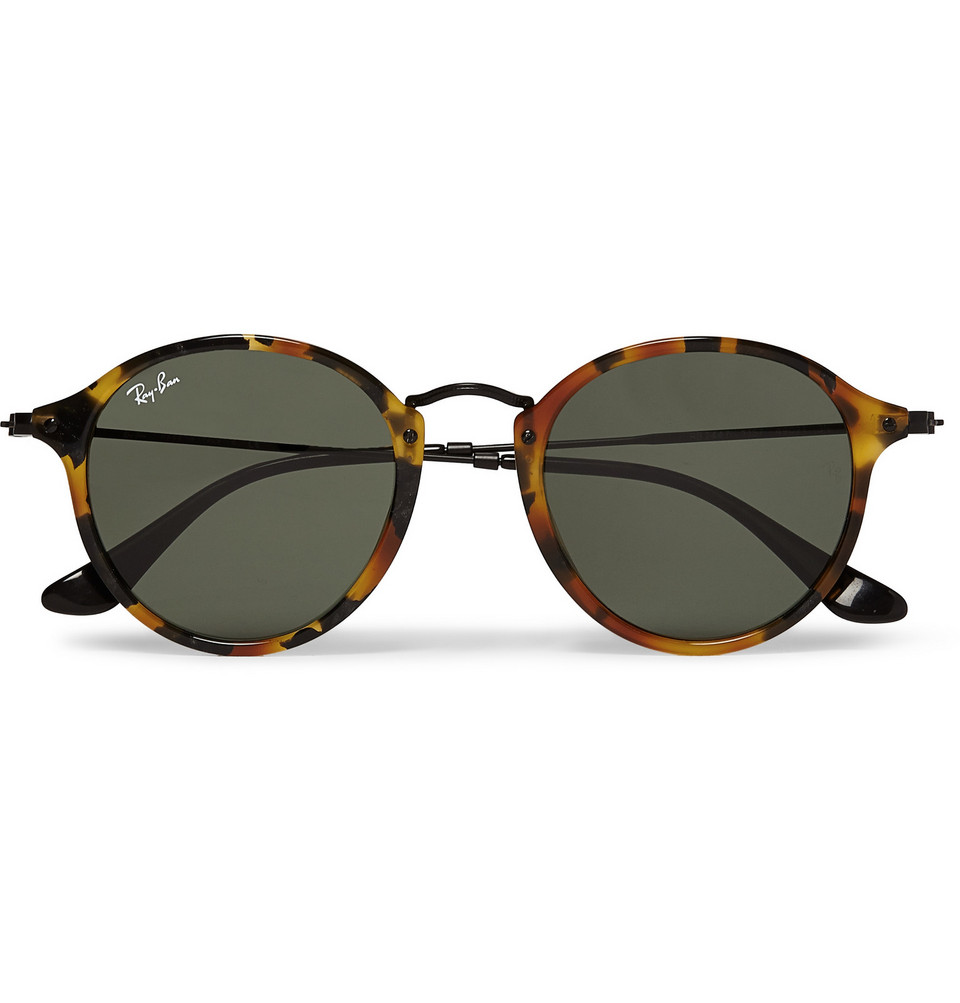 Round Frame Tortoiseshell Acetate Sunglasses Brown