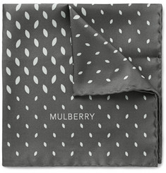 Mulberry Leaf-Print Silk-Twill Pocket Square