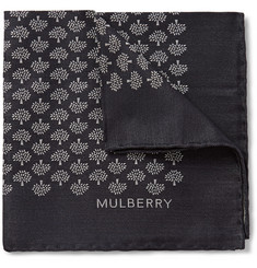 Mulberry Silk-Jacquard Pocket Square