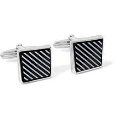 Lanvin Rhodium-Plated Onyx Cufflinks