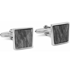 Lanvin Rhodium-Plated and Obsidian Cufflinks