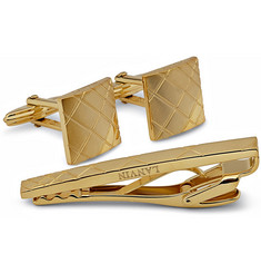 Lanvin Checked Gold-Plated Brass Cufflinks And Tie Clip Set