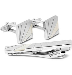 Lanvin Rhodium-Plated Mother of Pearl Cufflinks and Tie Clip Set