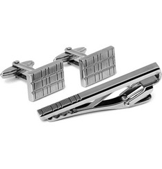 Lanvin Engraved Ruthenium-Plated Cufflinks and Tie Clip Set