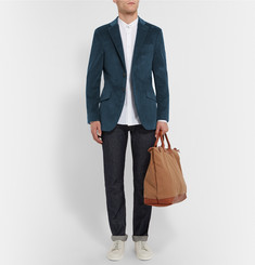 Richard James Teal Seishin Slim-Fit Cotton-Corduroy Blazer