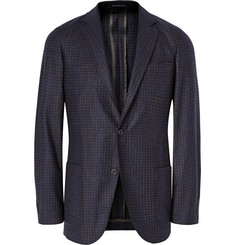 Richard James Navy Unstructured Checked Wool Blazer