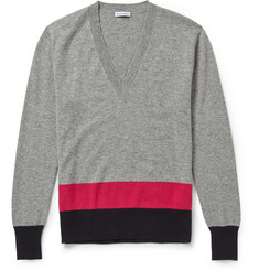 Tomas Maier V-Neck Striped Cashmere Sweater