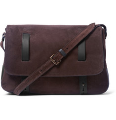 Tomas Maier Leather-Trimmed Suede Shoulder Bag