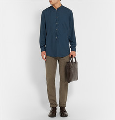 Massimo Alba Garment-Dyed Modal and Cotton-Blend Henley Shirt