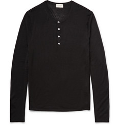 Club Monaco Knitted Merino Wool, Silk and Cashmere-Blend Henley T-Shirt