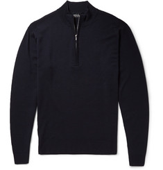 John Smedley Wyvern Merino Wool Zip-Neck Sweater
