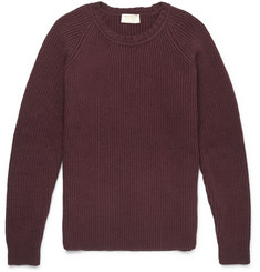 John Smedley Treak Suede Elbow Patch Merino Wool and Silk-Blend Sweater