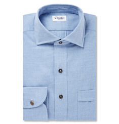 Drake's Blue Brushed-Cotton Shirt
