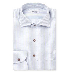 Drake's Blue Striped Slub Cotton Shirt