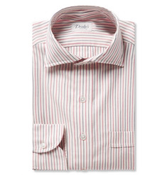 Drake's Pink Striped Cotton and Cashmere-Blend Twill Shirt