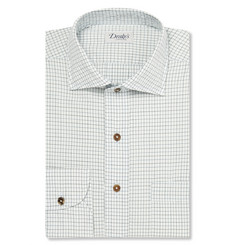 Drake's White Windowpane-Checked Cotton-Poplin Shirt