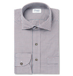 Drake's Gingham Checked Cotton-Poplin Shirt