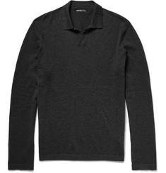 James Perse Cotton, Cashmere and Wool-Blend Polo Shirt