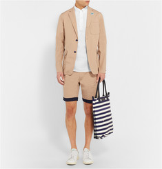 Beams Plus Slim-Fit Contrast-Hem Cotton-Blend Suit Shorts