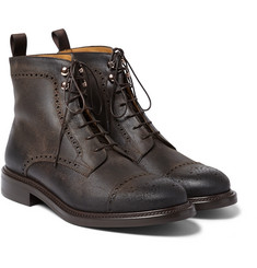 O'Keeffe Felix Distressed Brogue-Detailed Leather Boots