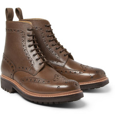 Grenson Fred Grained-Leather Brogue Boots