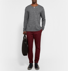 Club Monaco Space-Dye Knitted Cotton Henley T-Shirt