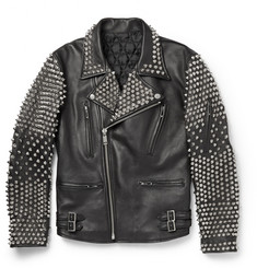 Blackmeans Studded Leather Biker Jacket